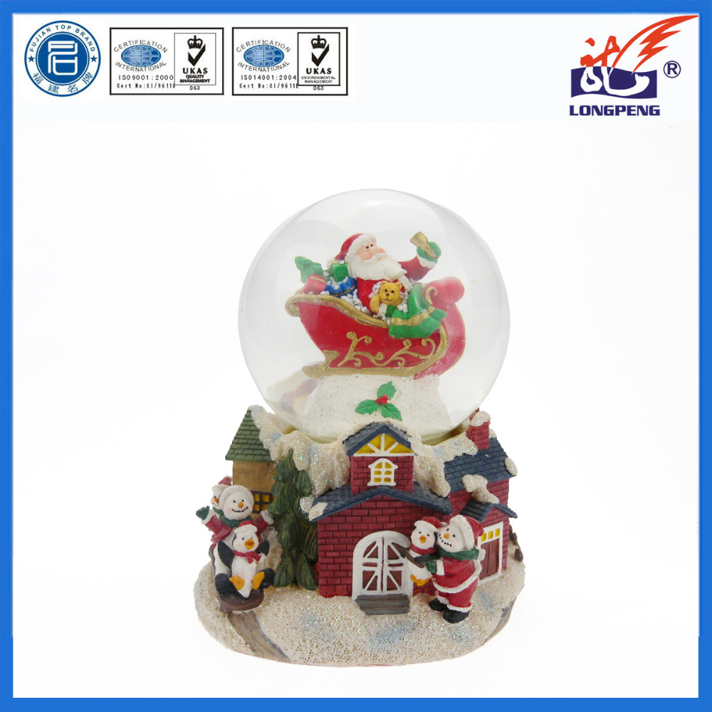 Musical Santa Claus Sleigh on Roof Christmas Snow Globes,Father Christmas Gifts Musical Snow Globe,Santa Claus on Sleigh
