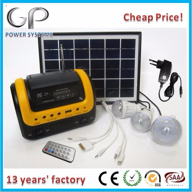 [GP]Solar energy portable solar energy lighting kit with mp3/fm radio, usb for solar systems family and outdoor