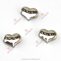 Newly heart girlfriend charms, silver heart floating locket charms china cheap price