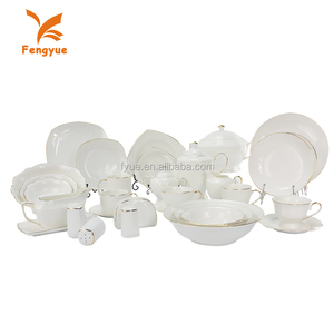 Ceramic elegance fine porcelain dinner set 72pcs fine dinner set with gold line