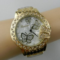 2015 Luxury Fashion Geneva Watch Stainless Steel Back Customized Design Wristwatch With Butterfly