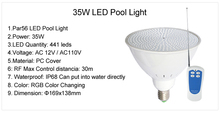 AC110V Par56 E27 LED Swimming Pool Lights 35W RGB with Remote