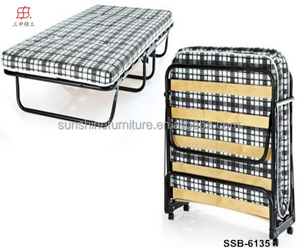 Hotel Home Guest Bed Wooden Slats Folding Rollaway Bed