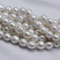 10mm white round baroque natural edison pearl beads with wrinkles