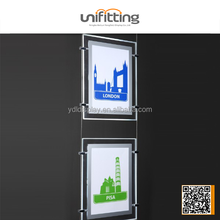 Cable Suspension LED lightbox for real estate agents glass window led display light box