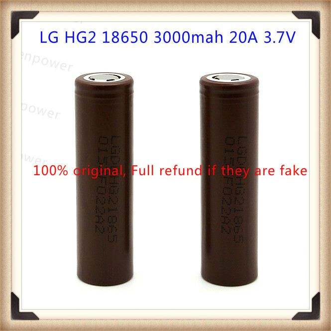 LG 18650 HG2 3000mah 20A 3.7V battery with flat top HG2 battery