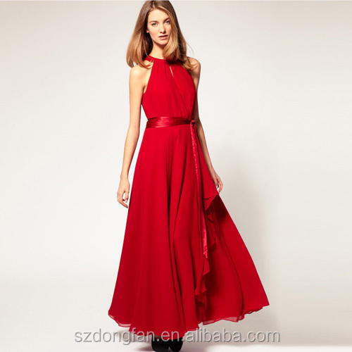 New Year 2017 China Bridesmaid Dresses Long Chiffon Sexy Red Wedding Gowns Evening Dress