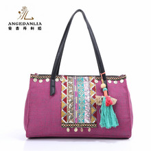Wholesale Female Hand Made Ethnic Embroidery Handbag Vintage Style Bag