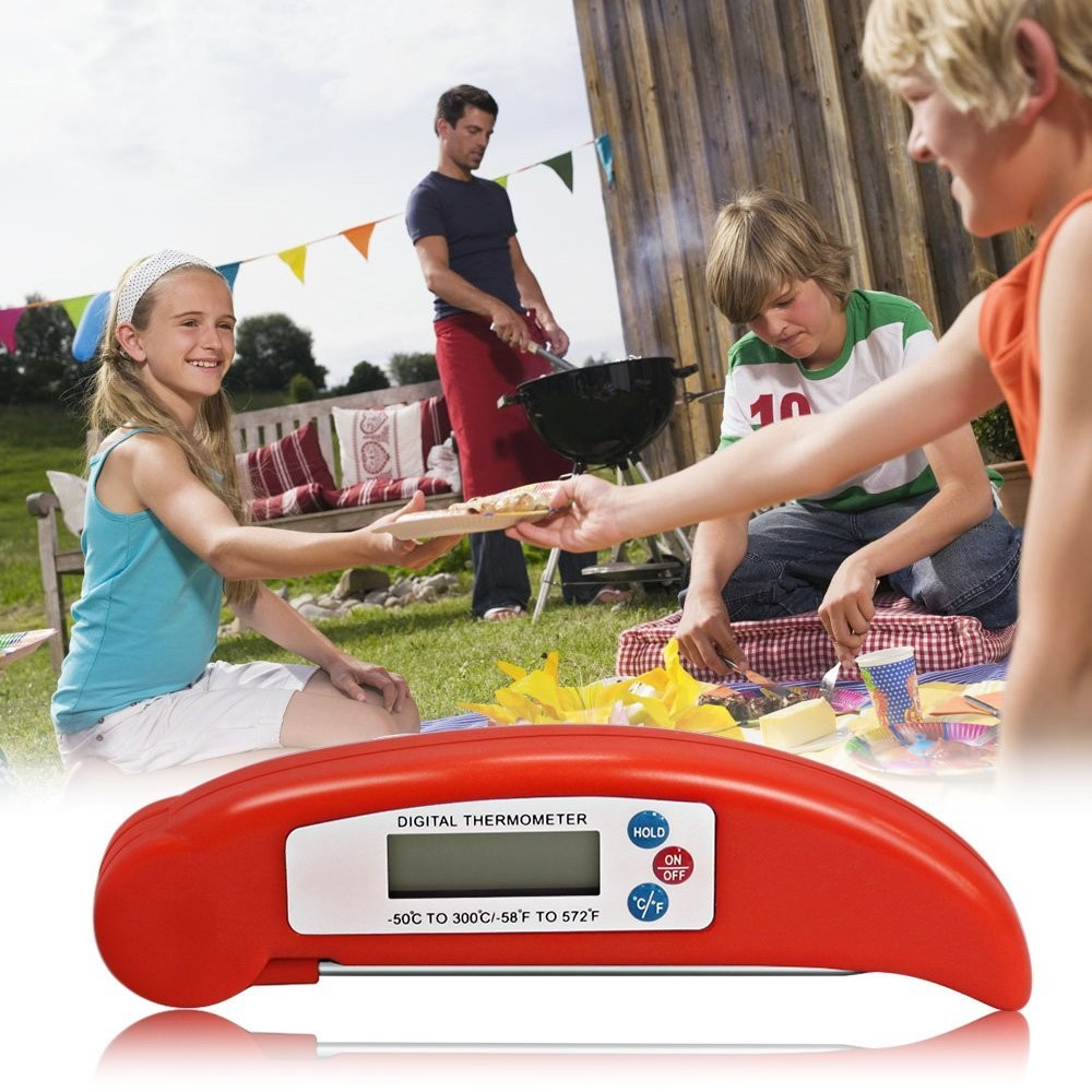 Long Probe LCD Screen Digital Stainless Baby BBQ Cooking Thermometer with Instant Read,BBQ Thermometers