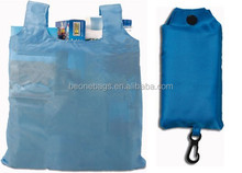 Promotional polyester reusable folding shopping bag for supermarket