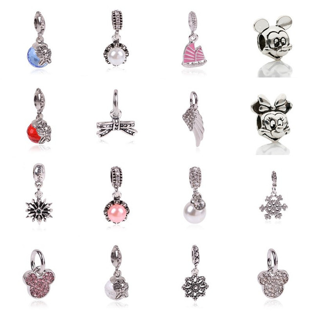 2016 New  1Pcs Silver Bead Charm European Silver with Mickey cartoon Charm Pendant Bead Fit Pandora Bracelet gift