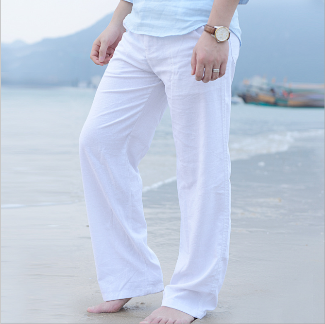 zm40308b plus size men loose linen pants pure color casual men sports trousers