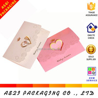 customized hot stamping heart design folding hotsale wedding invitation card 2014