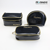 Wholesale luxury Black Shiny PU toiletry cosmetic travel bag