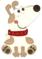 Felt iron on heat cut sequin dog embroidery applique