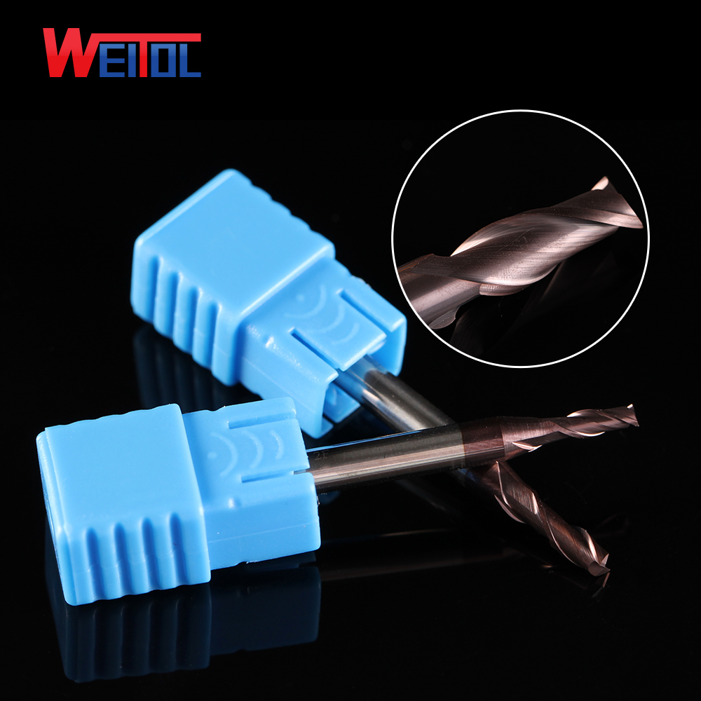 Weitol carving tools for steel <strong>carbide</strong> 2 flutes end mill bits for metal and wood double flute flat bottom HRC55 1*3C*4D*50L