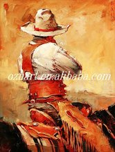 Handpainted Western Cowboy Oil Painting on Canvas