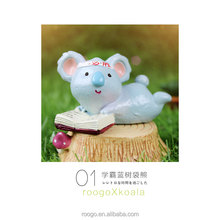 Roogo resin plant pot mini blue reading koala bear figure for bonsai