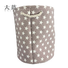Hot sale cotton linen fabric round storage basket with rope handles