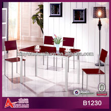 B1230 cassia siamea wooden panel gray metal legs 4+1 solid 2013 modern dining room furniture