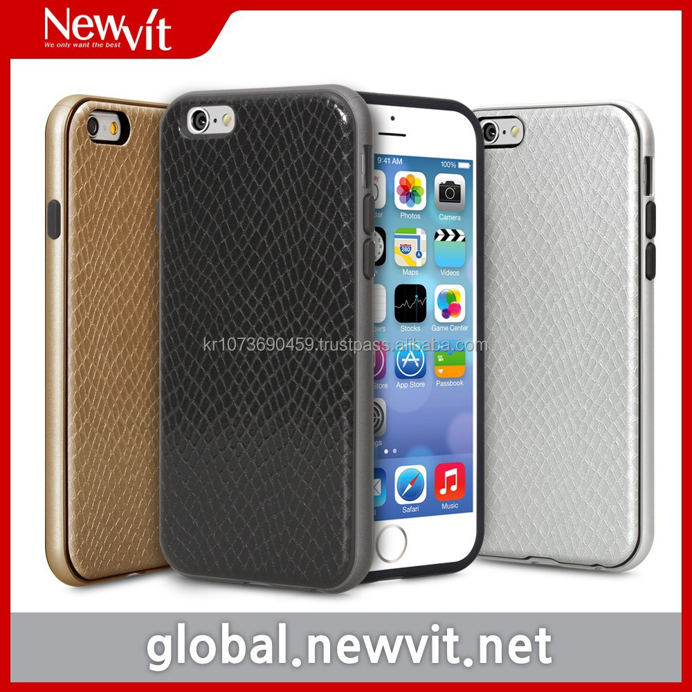 Newvit Style Bumper 2 series for iPhone 6 / Combined TPU with snake pattern leather