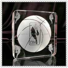 Round Polished Energetic Basketball Crystal Trophy For Sport Gifts