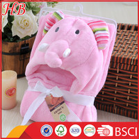 embroidered elephant hood soft warm microfiber baby blanket