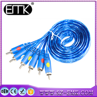 Wholesale Light Blue 1.8m Male To Male 3rca To 3rca Audio Video High Grade Cable