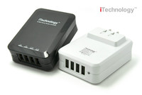 Patent White/Black Patent 34W 6.8A 4 usb travel charger, travel charger with US foldable plug