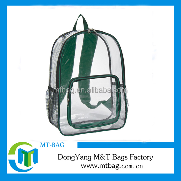 newest design outdoor teenagers clear PVC sport bag transparent backpack