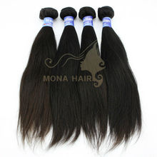 natural black/brown 16 inch Human hair straight silky weave 100g/bundle yaki wave wavy hair
