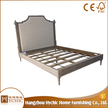Unique wooden leg carved wood high headboard bed frame