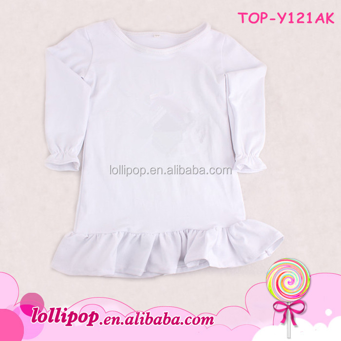 Boutique white clothes tee shirt infant fall children toddler ruffle long sleeve girls blank shirt