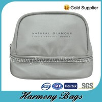Lightweight plain grey satin cosmetic case