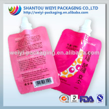 Custom printing food grade resealable spout bag for juice packaging