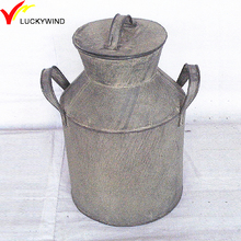 handcraft vintage metal milk can with lid