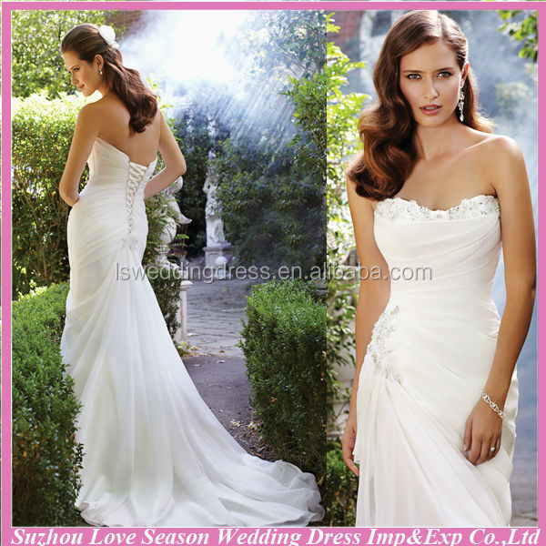 WD4240 2014 new arrival OEM service china suzhou alibaba latest design cheap chiffon long tail wedding dress