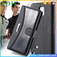 Note4 FLOVEME Deluxe Flip Fashion Classic Business Style PU Leather Wallet Case For Samsung Galaxy Note 4 N910 With Card Slot