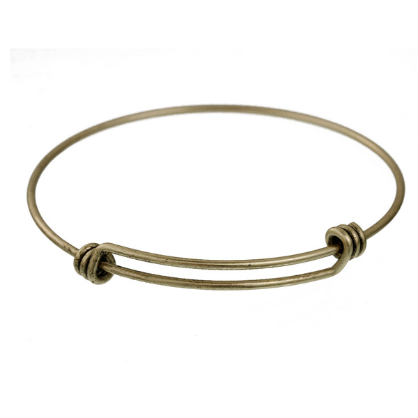 Double Bar Round Antique Bronze Copper Charm Expandable Bangles Bracelets