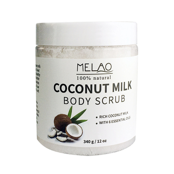 Coconut Milk Body Scrub Anti Cellulite Scrub & Exfoliator, 12 Oz Natural Skin Care Formula Helps with Stretch Marks, Eczema