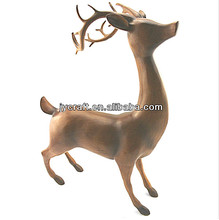 fiberglass nice small size sika deer statues with wooden painting effect for souvenir decoration gift items