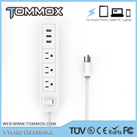 Tommox 3 Outlets Smart Black Mini Power Strip/ Socket Extension US Outlets Surge Protector with FCC