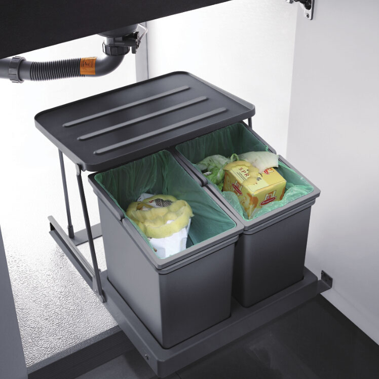 pull out kitchen under sink garbage rubbish can
