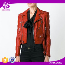 Shandao High Quality Red Fashion Women 100% Polyester Synthetic Leather asian fashion winter coats