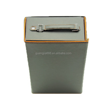 Luxury leather folding wine carry box carrier for double bottle