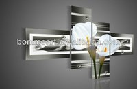 hand-painted wall art black Pure white lilies home decoration Landscape oil painting on canvas 4pcs/set