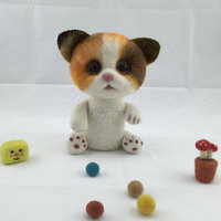 2015 handmade felted shape cat crafts for christmas decoration wholesale