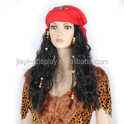 wholesale Adult women Caribbean pirate cospaly Wig for halloween party
