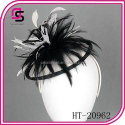 european stylish girls black feather fascinators mini hats