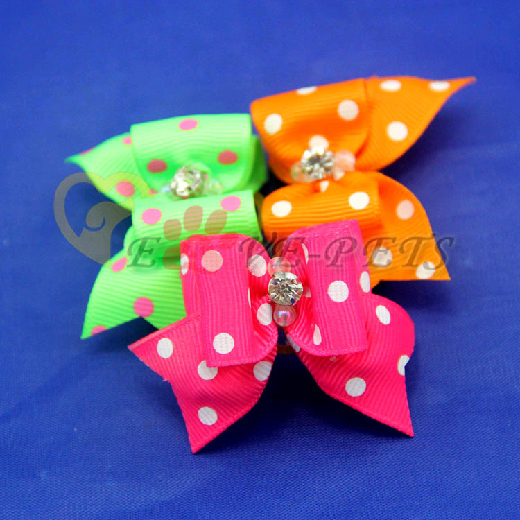 V1015 Wholesale Pet Products Handmade Dog Accessories Pet Hair Bows Rubber Bands Doggie Boutique Hot Sale Fast Shipping